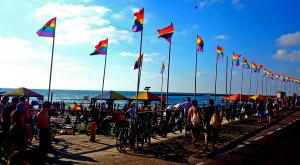 Regenbogen-Fahnen zur Gay Pride in Tel Aviv.