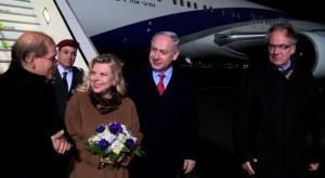 Ministerpräsident Netanyahu und Frau Sara bei ihrer Ankunft in Berlin (Foto: GPO)