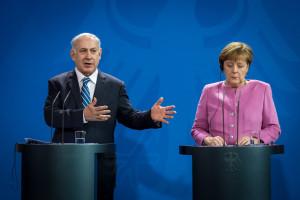 Ministerpräsident Netanyahu und Bundeskanzlerin Merkel bei der Pressekonferenz (Foto: GPO/Boaz Arad)